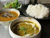 Bセット(野菜カレー、日替わりカレーのカボチャと炭火焼きチキン)