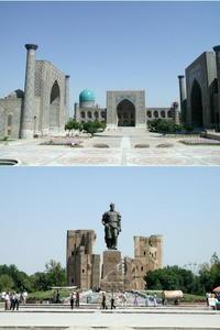 ご参考:サマルカンドのレギスタン広場(上)とシャフリサーブスのティムール像(下)